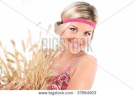 Beautiful Young Woman Holding Wheat Spike Isolated Over White