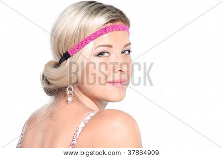 Close-up Portrait Of Beautiful Blonde Girl On White Background