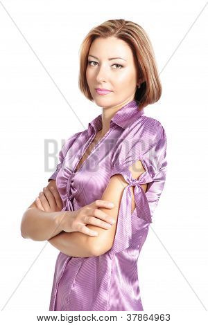 Serious Business Woman Standing Isolated Over White
