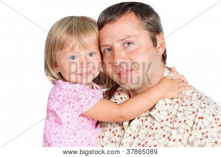 Portrait Of Beautiful  Daughter Embracing Her Dad Isolated Over White