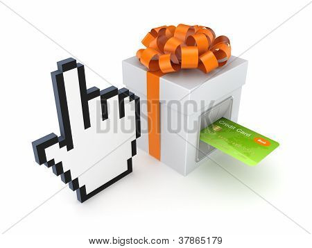Credit card inserted in a gift box.