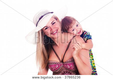 happy summer mother with her daughter isolated over white background