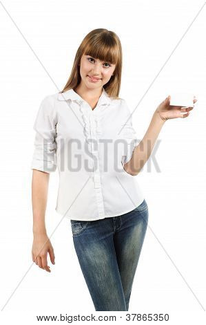 Beautiful Teen Girl Holding White Card Isolated Over White