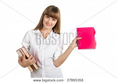 Smiling Teen Schoolgirl Holding Notebook Isolated Over White