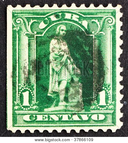 Postage stamp Cuba 1899 Statue of ChristopherColumbus