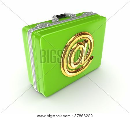Green suitcase with golden AT symbol.
