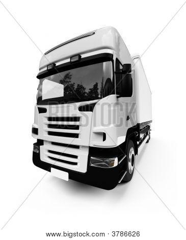 Semi Truck Over White
