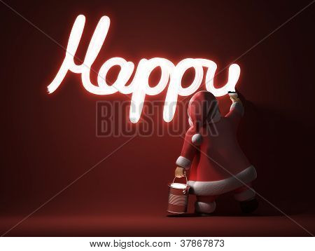 Santa writes Happy New Year