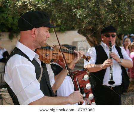 Three Musicians Outside The Western Wall Jerusalem