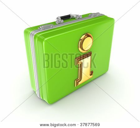 Golden info symbol on a green suitcase.