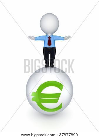 3d small person on a sphere with euro sign.