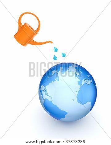 Orange bailer and big globe.