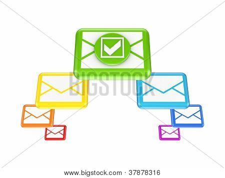 Colorful envelopes and tick mark.