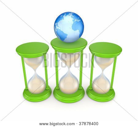 Sand glasses and globe.