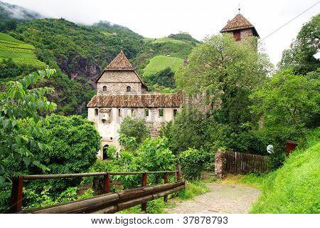 Picturesque rural landscape with castle.