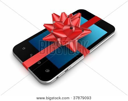 Modern mobile phone decorated with a red ribbon.