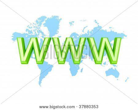 Palavra verde WWW e o mapa do mundo.
