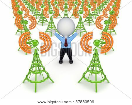 Green antennas and 3d small person.
