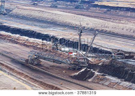 Bucket-wheel excavator in an open pit