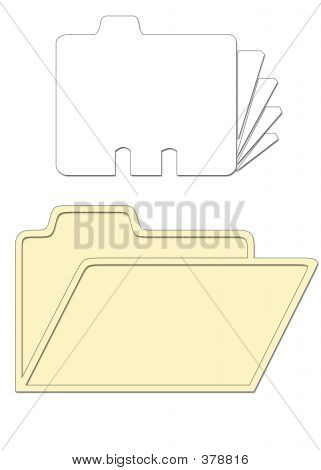 Desk Business Cards And Folder Icons