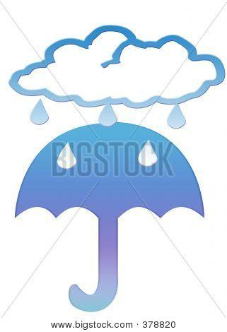 Regenwolke und Regenschirm