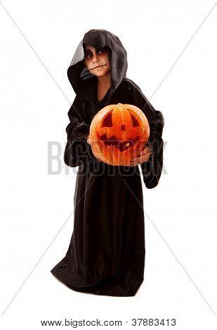 Boy In Halloween Zombie Fancy-dress With Pumpkin