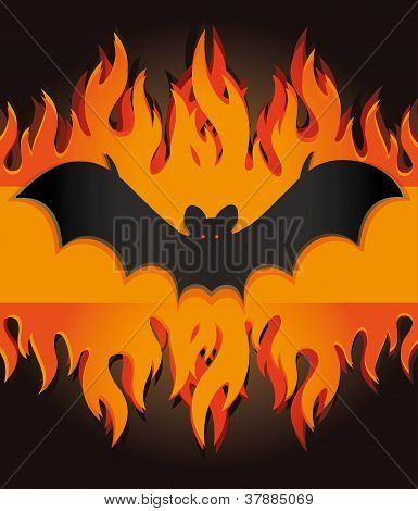 vector bat flames fire card halloween menu template