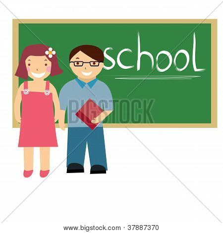 vector illustration of kids at school