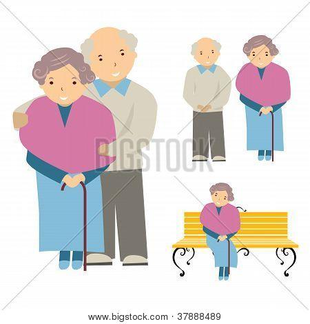 vector illustration of the elderly