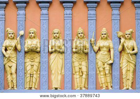 Hindu Temple Goddess And Priestess Wall Carvings