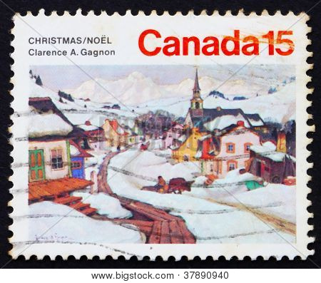 Postage stamp Canada 1974 Village, by Clarence A. Gagnon