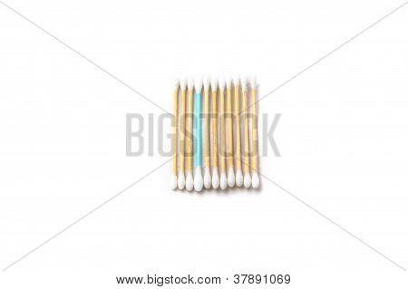 Row of cotton sticks