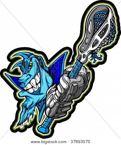 Mascota de Blue Demon, sosteniendo el palo de Lacrosse Vector Illustration
