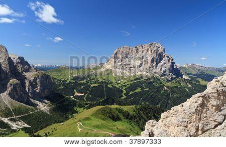 Sassolungo Mount And Gardena Pass