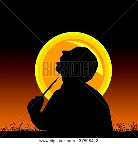 Man With Knife Vector Illustration