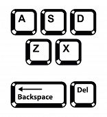 Keyboard keys buttons icons set - letters, backspace, delete