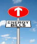 stock photo of fuel efficiency  - Illustration depicting a roadsign with a energy bill increase concept - JPG