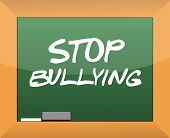 stock photo of racial discrimination  - stop bullying text written on a blackboard illustration design - JPG