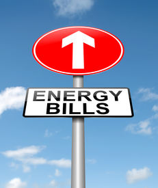 stock photo of tariff  - Illustration depicting a roadsign with a energy bill increase concept - JPG