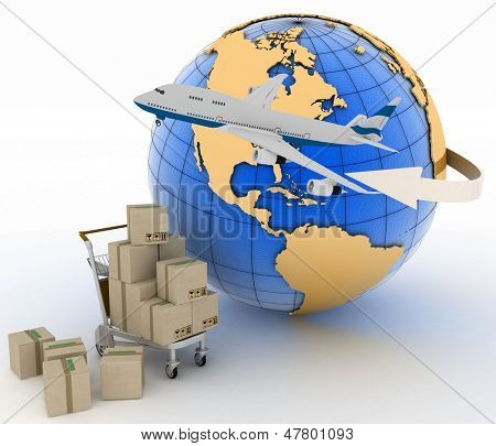 Airliner with earth and boxes on a freight light cart on a white background. 3d global business commerce concept