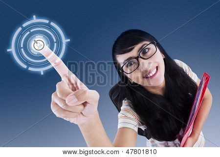Attractive College Student Touching Virtual Screen