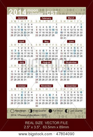 Vector Calendar 2014 With Phases Of The Moon/ Cst, Size: 2.5