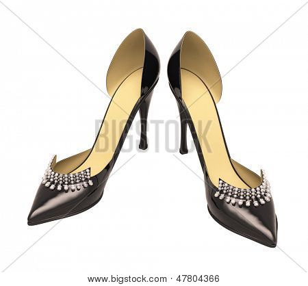 Black patent leather women's high heels closeup on a light background