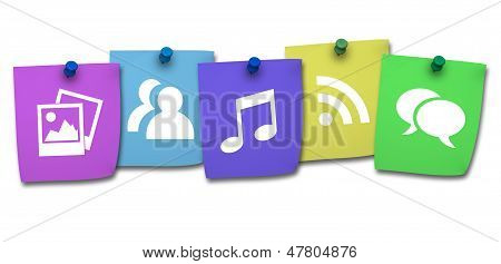 Website Icon On Colorful Post It