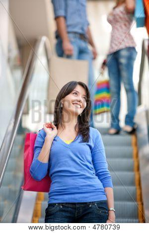 Einkaufen Frau auf scalators