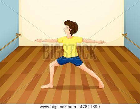 Abbildung eines Mannes, die Yoga in einem Raum durchführen