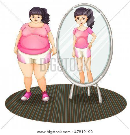 Beispiel für ein dickes Mädchen und ihre schlanke Version in den Spiegel auf weißem Hintergrund