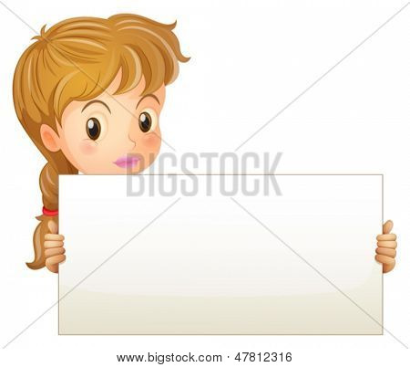 Illustration of a teenage girl holding an empty signage on a white background