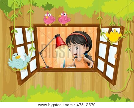 Illustration of a girl studying near the window with birds