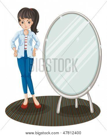 Abbildung eines Mädchens mit einer Jacke stehen neben einem Spiegel auf weißem Hintergrund
